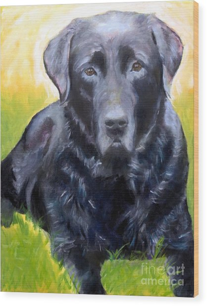 Black Lab Pet Portrait Wood Print