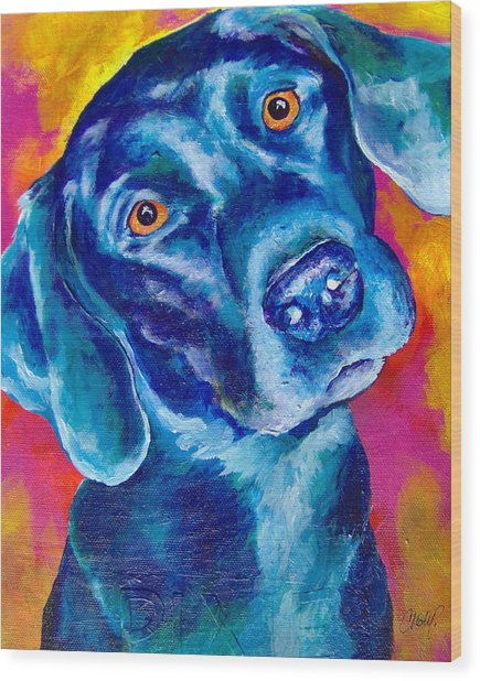 Black Lab Pop Art Wood Print