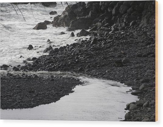 Black Lava Beach, Maui Wood Print