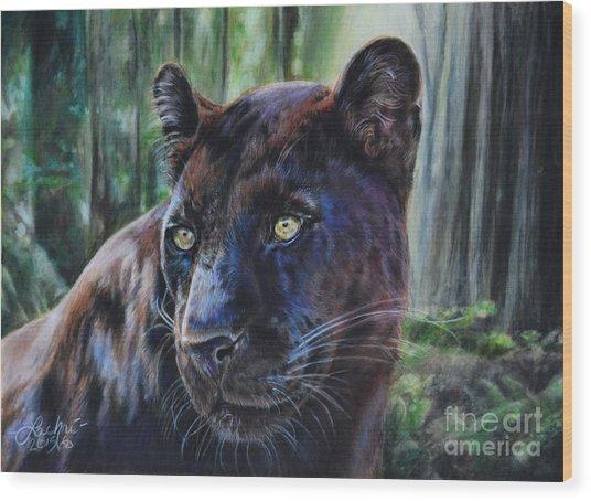 Black Leopard Wood Print
