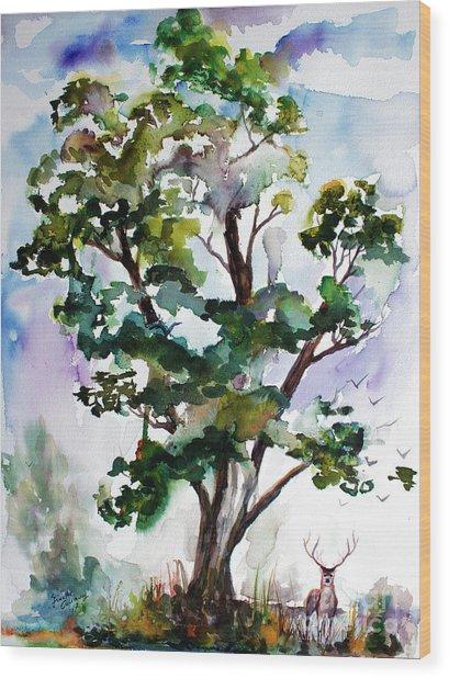 Black Locust Tree And Deer Landscape Portrait Wood Print