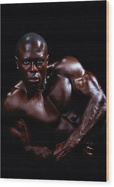 Black Male Fitness Model Wood Print