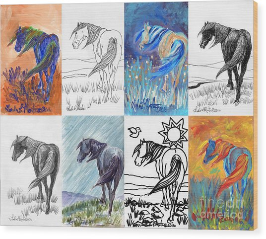 Black Mustang Sampler Wood Print