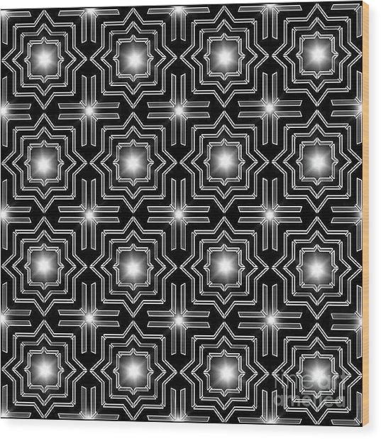 Black Night Lights Wood Print