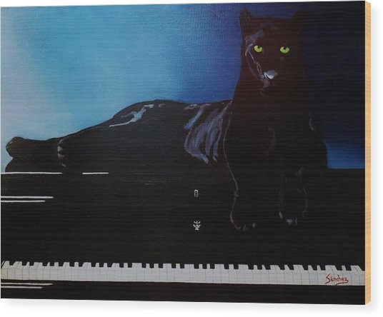 Black Panther And His Piano Wood Print