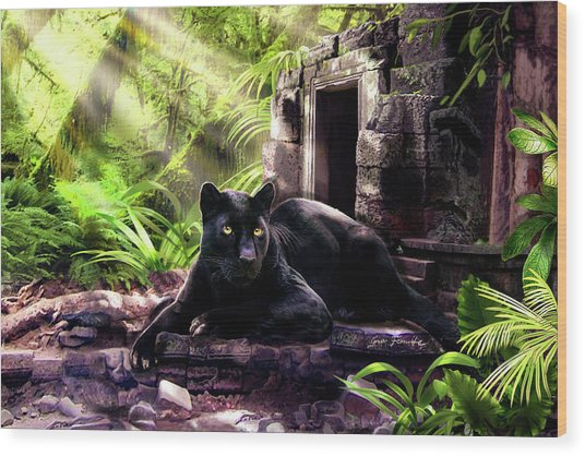 Black Panther Custodian Of Ancient Temple Ruins  Wood Print