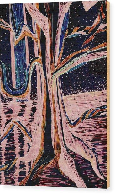 Black-peach Moonlight River Tree Wood Print