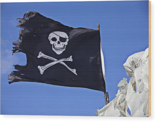 Black Pirate Flag  Wood Print