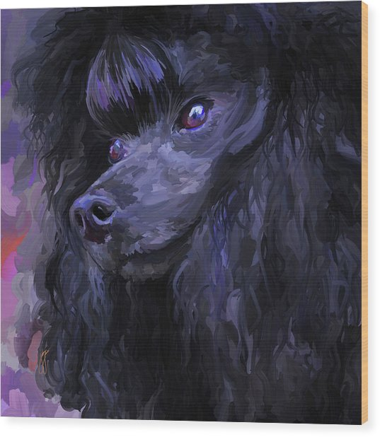 Black Poodle - Square Wood Print