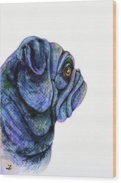 Black Pug Wood Print
