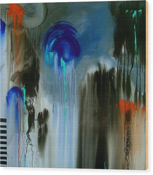 Black Rain Wood Print by Nicole Lee