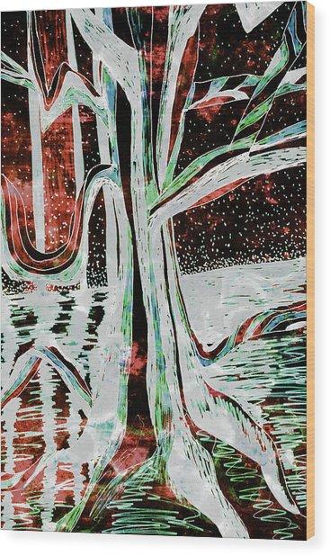Black-red Moonlight River Tree Wood Print