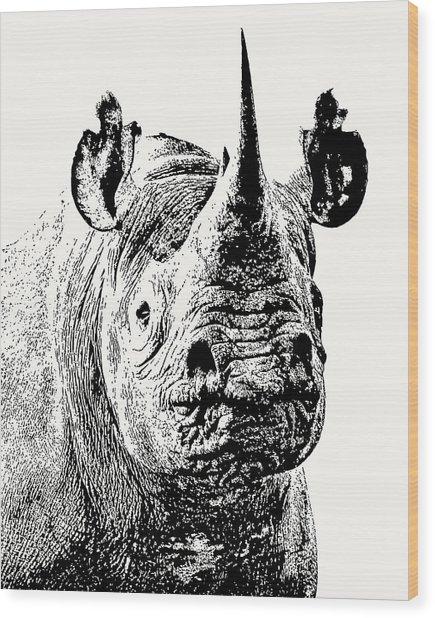 Black Rhino Portrait Wood Print