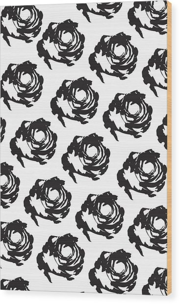 Black Rose Pattern Wood Print