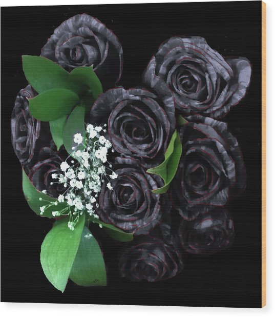 Black Roses Bouquet Wood Print