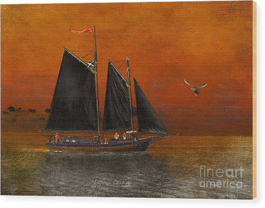 Black Sails In The Sunset Wood Print