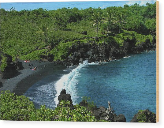 Black Sand Beach  Wood Print