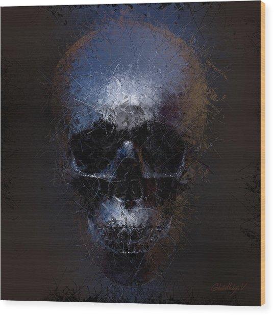 Black Skull Wood Print