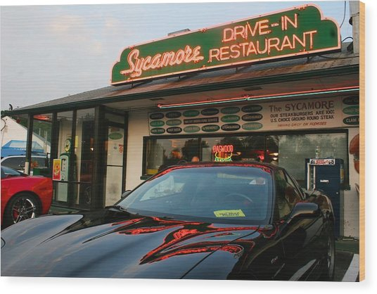 Black Sports Car In Front Of The Sycamore Wood Print