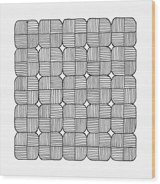 Black Squares Mosaic Wood Print by Konstantin Sevostyanov