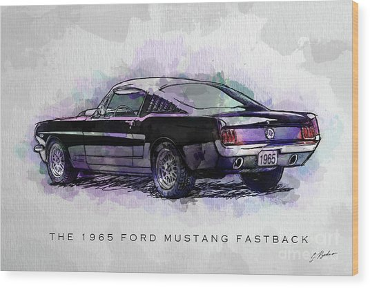 Black Stallion 1965 Ford Mustang Fastback Wood Print
