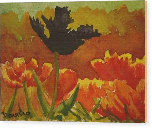 Black Tulip Wood Print