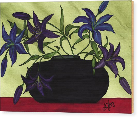 Black Vase With Lilies Wood Print by Stephanie  Jolley