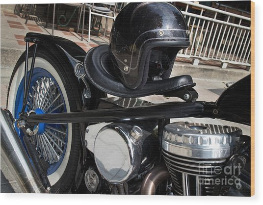 Black Vintage Style Motorcycle With Chrome And Black Helmet Wood Print