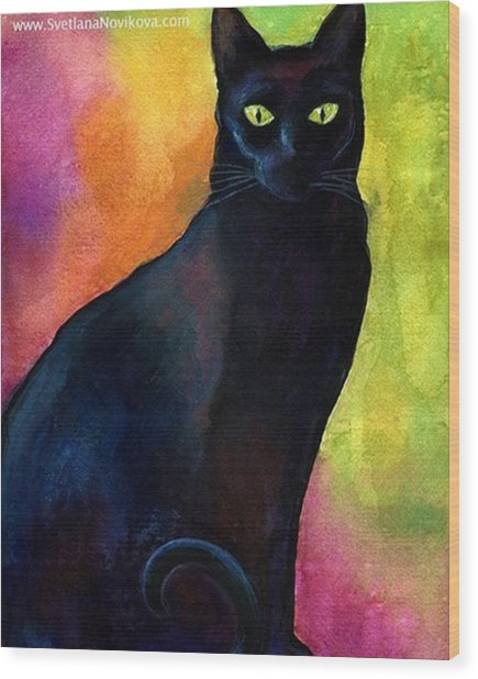 Black Watercolor Cat Painting By Wood Print