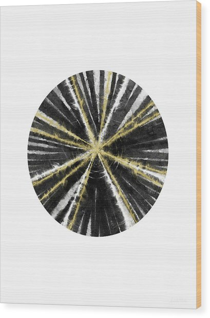 Black, White And Gold Ball- Art By Linda Woods Wood Print