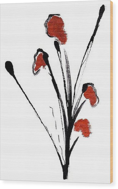 black with a touch of red  A Wood Print by Mimo Krouzian