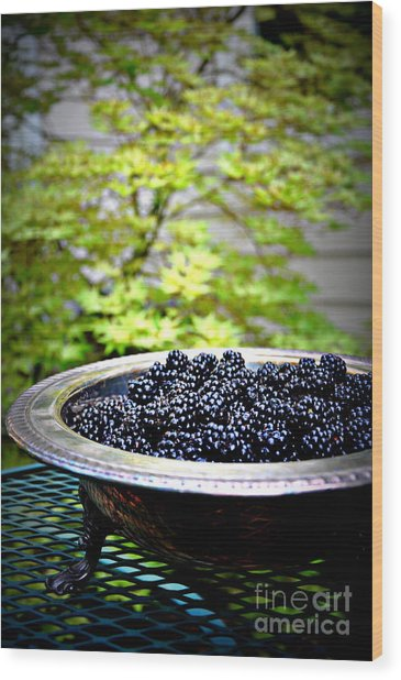 Blackberries In Silver Dish Wood Print