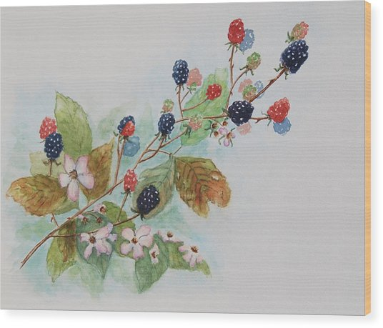 Blackberry Composition Wood Print by Geraldine Leahy