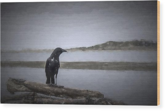 Blackbird Surveys The Bay Wood Print