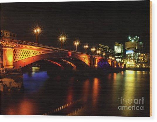 Blackfriars Bridge Illuminated In Orange Wood Print
