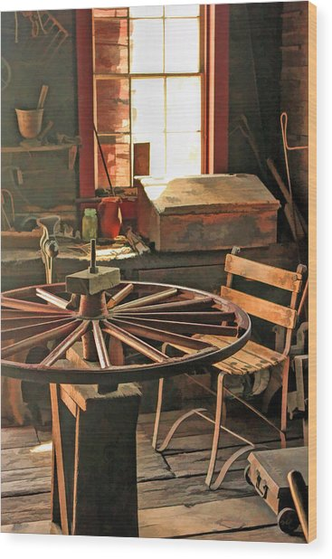 Blacksmith Shop Wheel Repair At Old World Wisconsin Wood Print