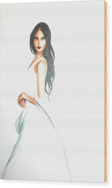 Wood Print featuring the drawing Blanca by MB Dallocchio
