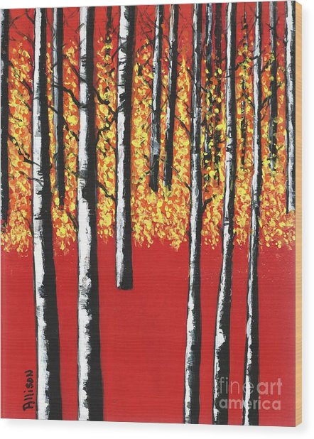 Blazing Birches Wood Print