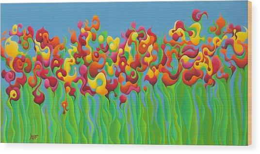 Blazing Blossom Bash Wood Print
