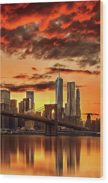 Blazing Manhattan Skyline Wood Print