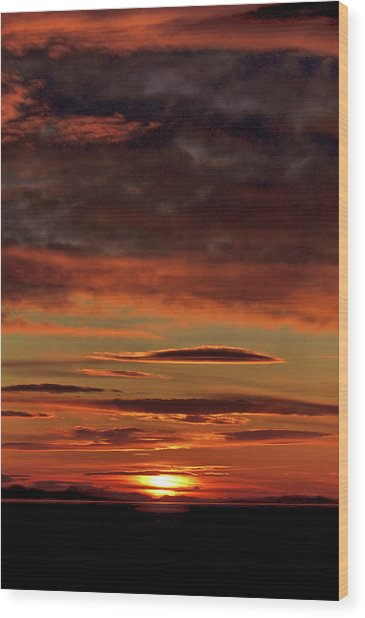 Blazing Sunset Wood Print