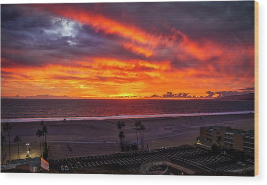 Blazing Sunset Over Malibu Wood Print