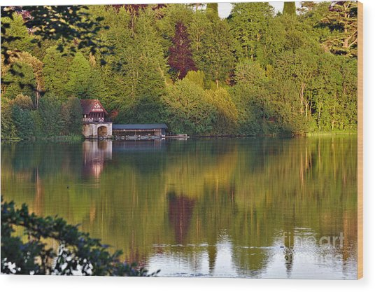 Wood Print featuring the photograph Blenheim Palace Boathouse 2 by Jeremy Hayden