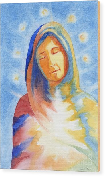 Blessed Mother Wood Print by Juanita Yoder