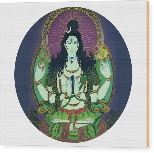Blessing Shiva Wood Print