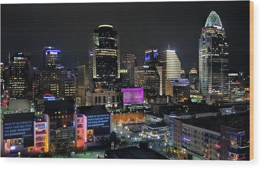 Blink Cincinnati - Skyline  Wood Print