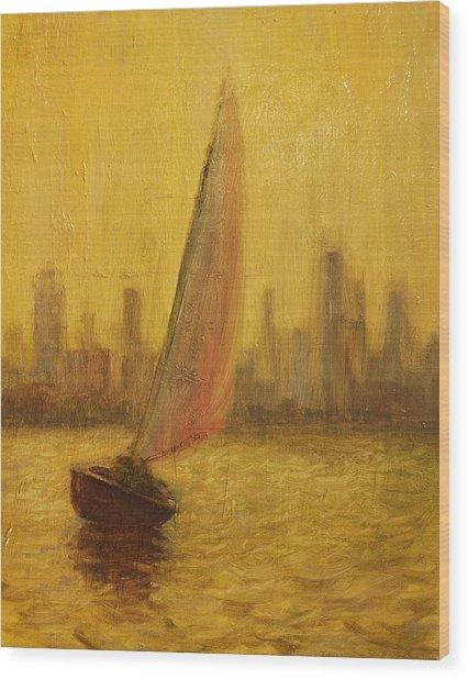 Blissful Sail Wood Print