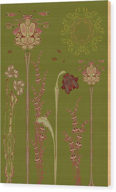 Blob Flower Garden Wood Print