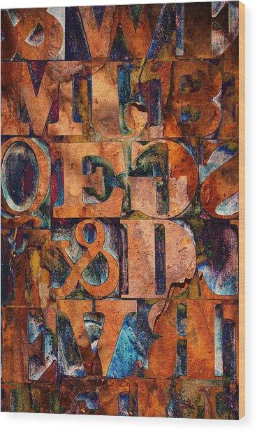 Block Letters Variation 2 Wood Print by Tony Ramos