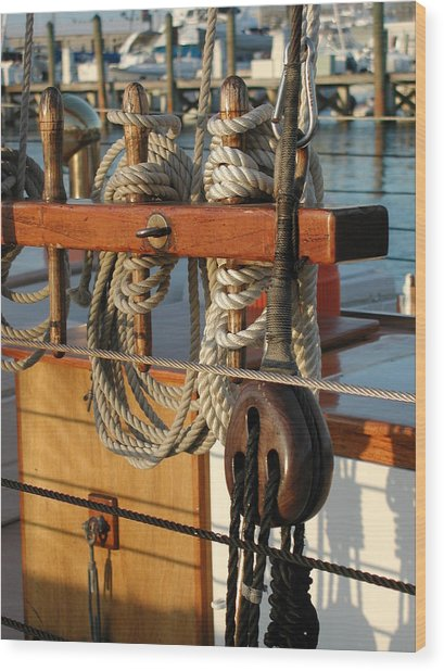Block  Line  And Tackle Wood Print
